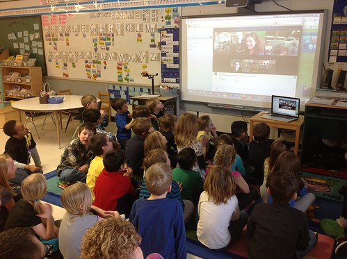 Image of Kathy Cassidy's first grade class during a Skype video call.