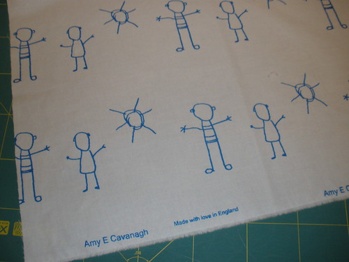 Handprinted fabric - kids and sun TURQUOISE ink