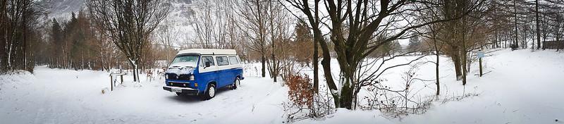 Campervan t3/t25 in the snow in Cumbria