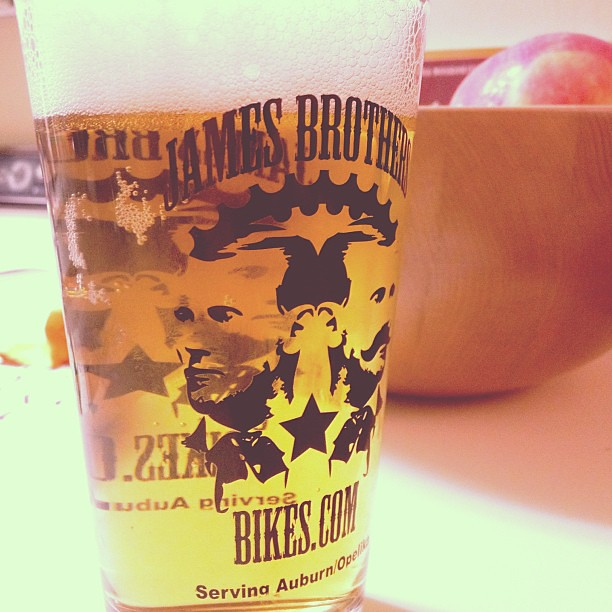 When you buy a bike at James Brothers, you get a pint glass. That's just good business.