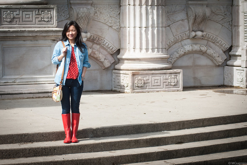 polka dot blouse denim shirt red boots