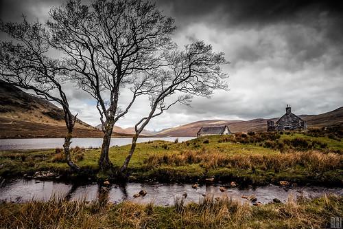 tree silhouette landscape scotland highlands ruin rossshire lochabhraoin fannichhills distagont3518