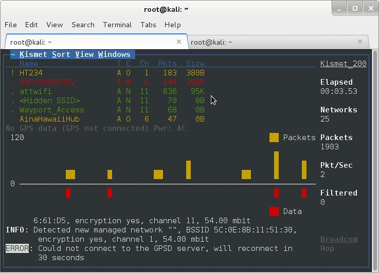 Kismet in Kali Linux