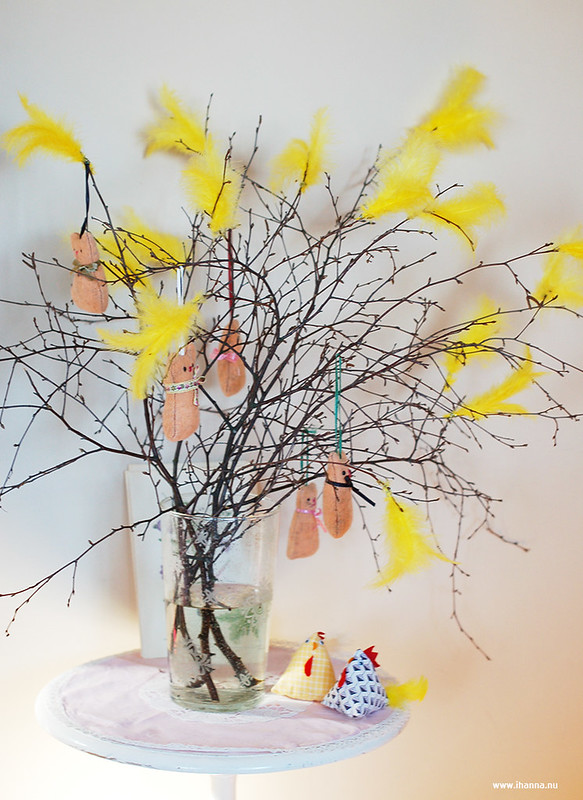Easter Tree with Cats and Feathers