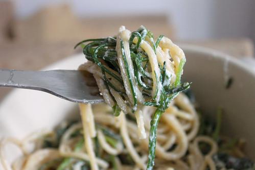 spaghetti monk beard spinach ricotta