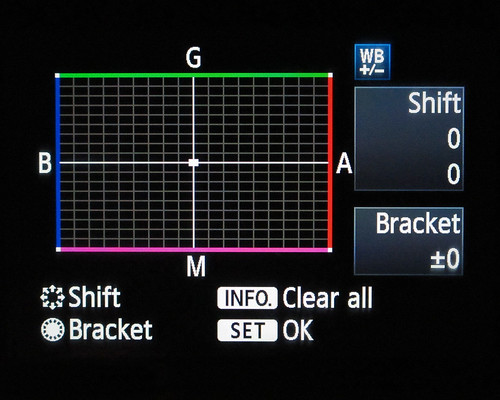 Canon WB Shift/Bracket Menu