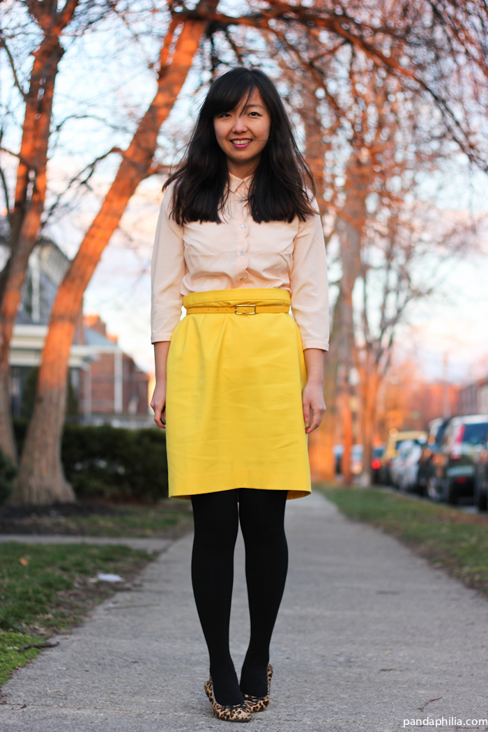 pink scallop blouse yellow pencil skirt