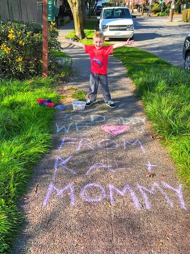 This was Kai's idea. Sidewalk chalking.