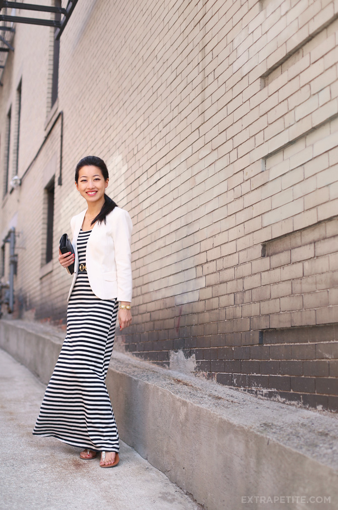 striped maxi dress ivory blazer2