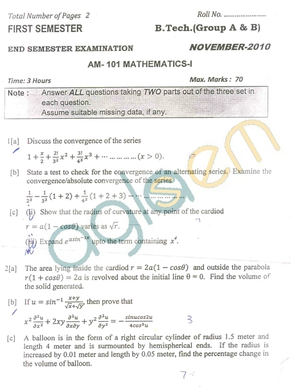 DTU Question Papers 2010 – 1 Semester - End Sem - AM-101