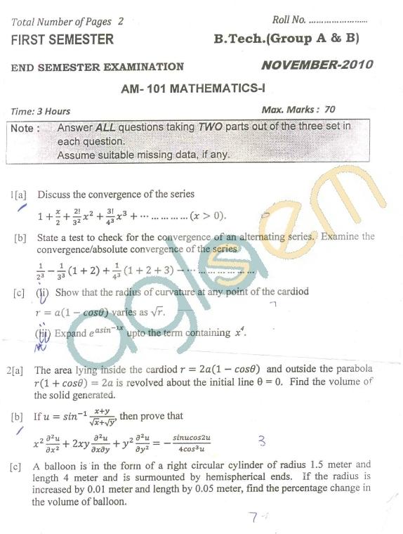 DTU Question Papers 2010 – 1 Semester - End Sem - AM-101