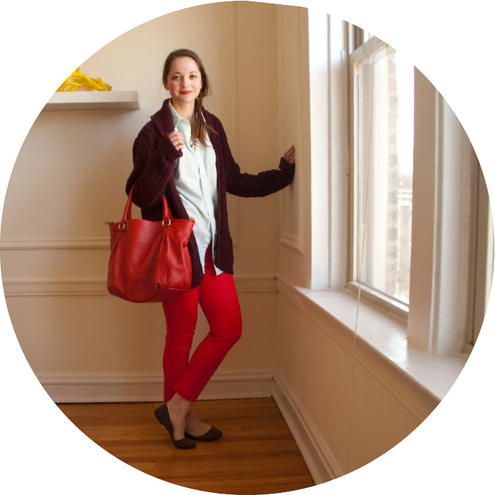 april outfits, big sweaters, what to wear with, red j.crew factory winnie pants, red and burgundy, cable knit cardigan, men's dress shirt, wearing color to work, outfit ideas, business casual, j.crew red purse