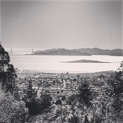 Vintage image of Golden Gate Bridge in the distance, circa 2013