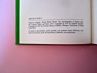 Stephen Spender. Un mondo nel mondo. Il Mulino 1992. Sovracoperta di Alberto Bernini. Colophon (part.), 1