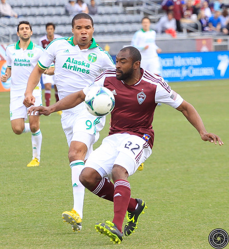 Marvell Wynne (Rapids), Ryan Johnson (Timbers), Colorado Rapids Host Portland Timbers at Dick's Sporting Goods Park Colorado by Corbin Elliott Photography