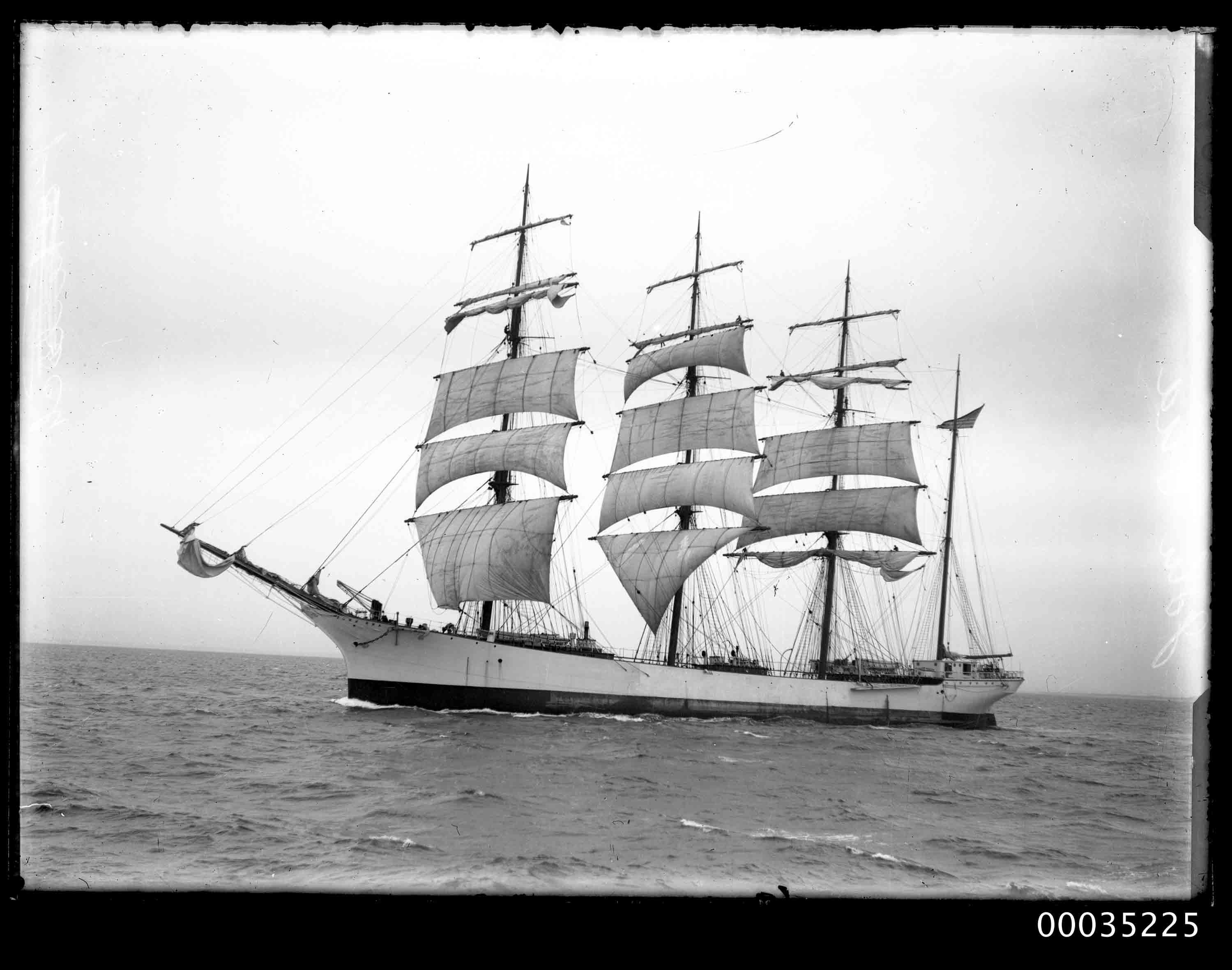 Four-masted steel barque JOHN ENA at sea