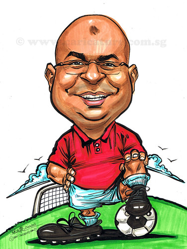 soccer caricature for AbbVie Pte Ltd