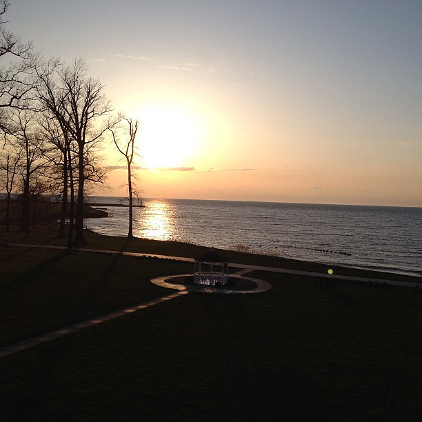 Enjoying a Lake Erie sunset at The Lodge at Geneva-on-the-Lake. #happyincle #nofilter #lakeerie