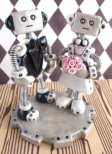 Goth Robot Wedding Cake Topper by HerArtSheLoves