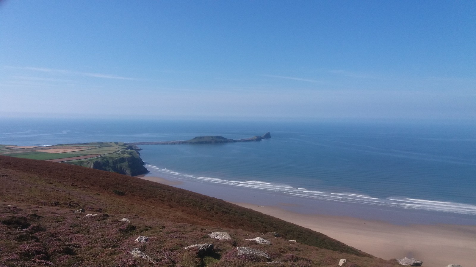 20160829_113850 Worms Head from summit of Rhossili down