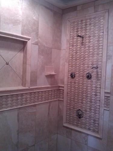 Porcelain and Travertine tile designs