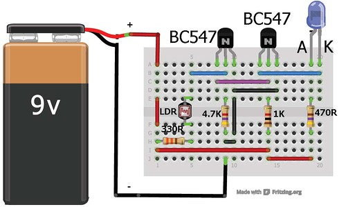 Dark sensor using transistor, photodiode and phototransistor