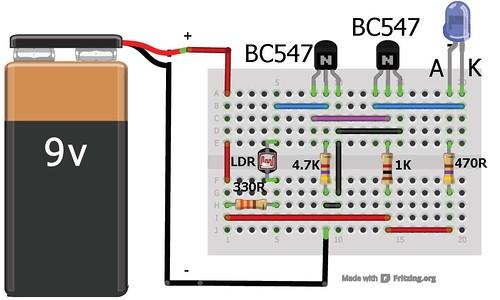 Dark Sensor Using Transistor Phototransistor And