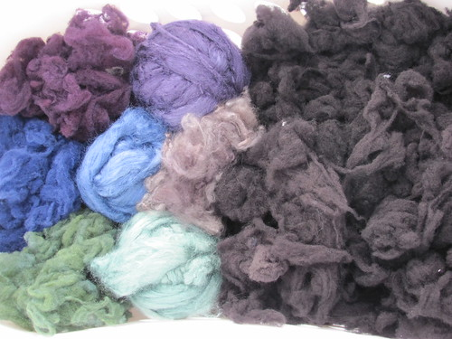 Dyed wool, silk, and angora