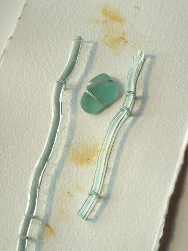 Edges: rust, sea glass, glass, stitch (detail)