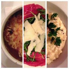 French onion soup, beef carpaccio, & black truffle risotto at Le Castiglione.
