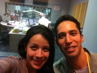 Daniela Fernandez and Joey Feinstein at WBEZ, before the interview. © Daniela Fernandez