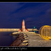 Ball of Light with Benicarló Harbor Lighthouse by SVA1969