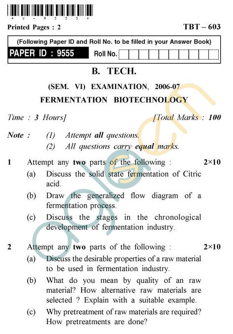 UPTU B.Tech Question Papers - TBT-603 - Fermentation Biotechnology