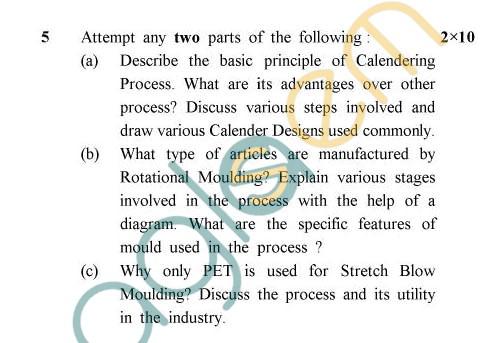 UPTU: B.Tech Question Papers -TPL-601 - Polymer Processing-II