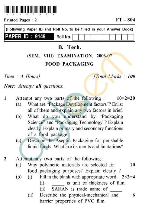 UPTU B.Tech Question Papers - FT-804 - Food Packaging