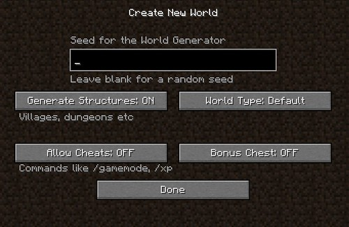 Minecraft - Create a New World