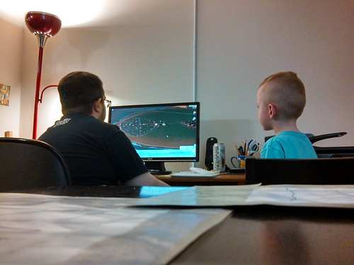 Kai and Joe, playing the SimCity closed beta.