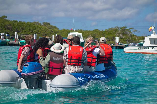 Galapagos Cruises: zodiak boats shuttling passengers