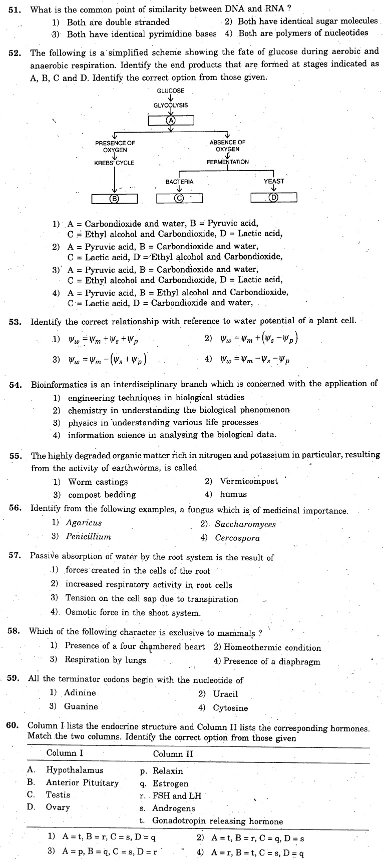 KCET 2006 Question Paper - Biology