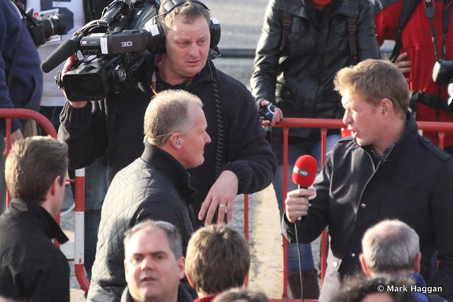 Johnny Herbert and Simon Lazenby of Sky F1 at Winter Testing, March 2013