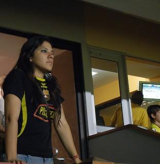 A ecuadorian girl watching barcelona sc soccer game back in september 2012