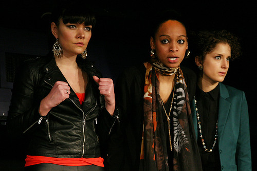 Joanna Kaczynska (Katya) Samantha Pearl (Zainab) and Nadia Clifford (Chloe) in Sabrina Mahfouz's Clean. Production photo © Play, Pie and a Pint. Traverse Theatre