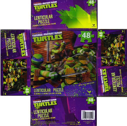 CARDINAL :: Nickelodeon TEENAGE MUTANT NINJA TURTLES - 48 Piece Lenticular Puzzle ..box i (( 2012 ))