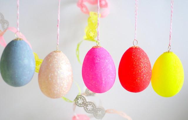Neon glittered eggs 2013
