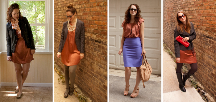 rust dress remix, one dress four ways, what to wear with orange