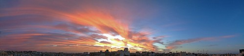 morning pink blue sky panorama cloud sun rose clouds sunrise dawn bleu ciel matin
