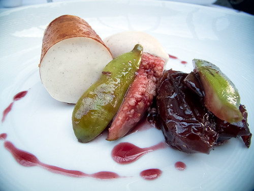 Fig, dates, mulled wine, cinnamon ice cream