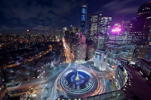 NYC Columbus Circle at night