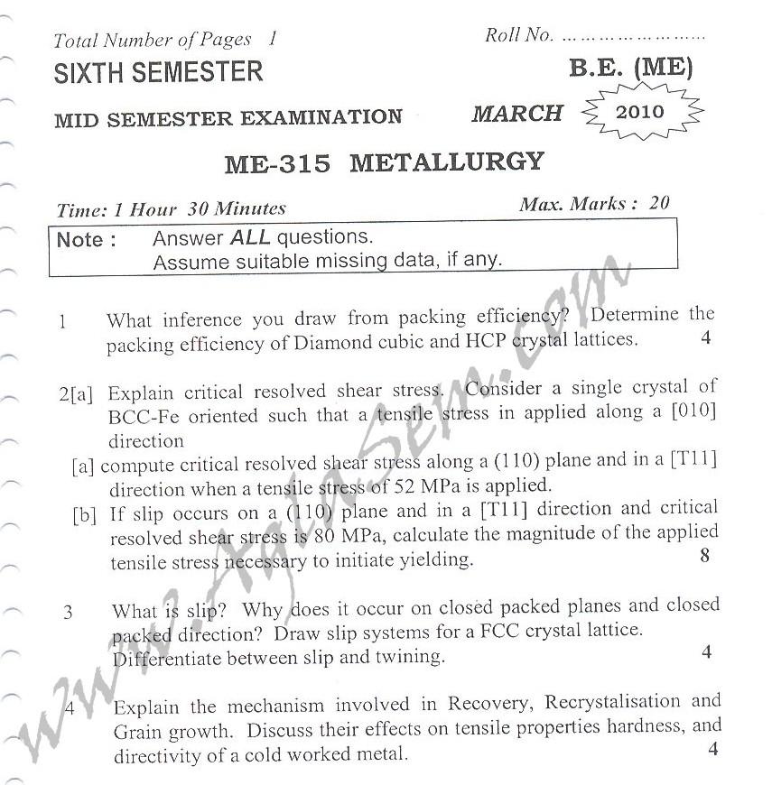 DTU Question Papers 2010 – 6 Semester - Mid Sem - ME-315