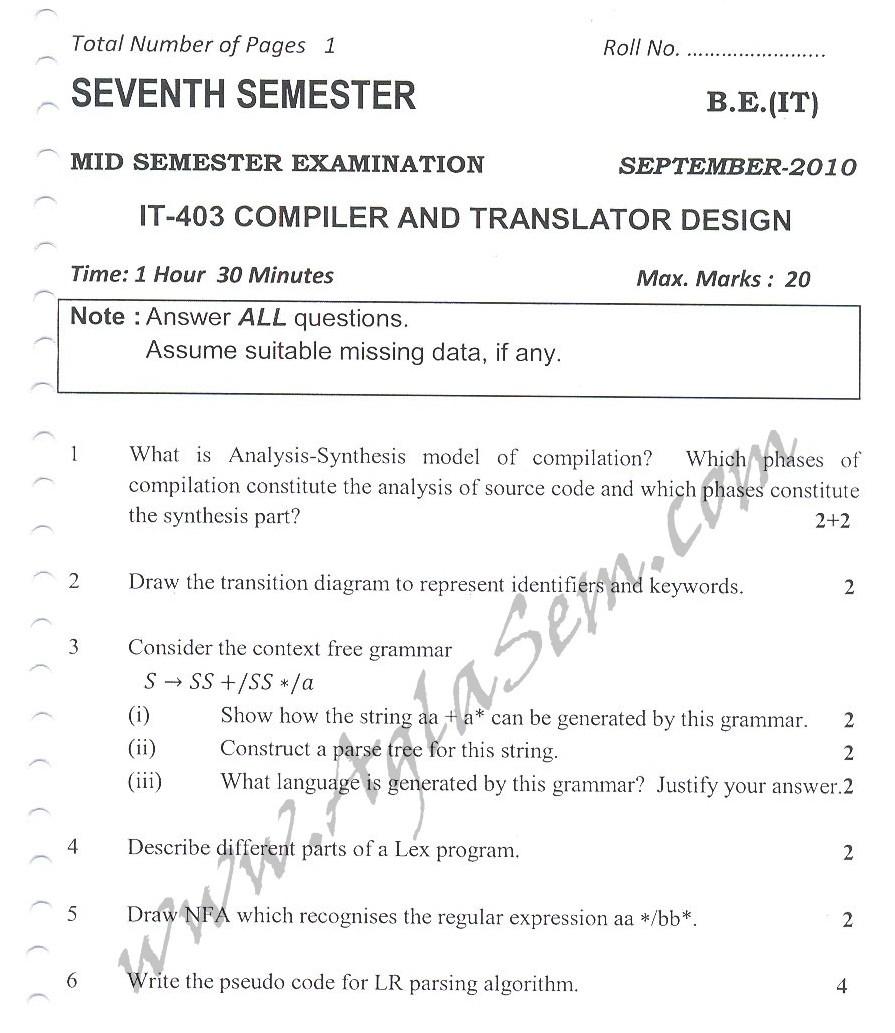 DTU Question Papers 2010 – 7 Semester - Mid Sem -  IT-403
